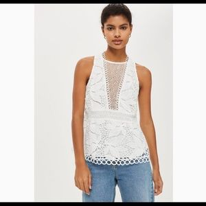 TopShop white lace peplum top Sz 10